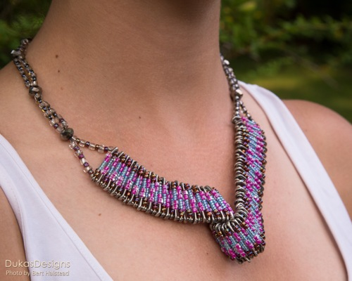 Seed Beads & Safety Pins Necklace by DukasDesigns