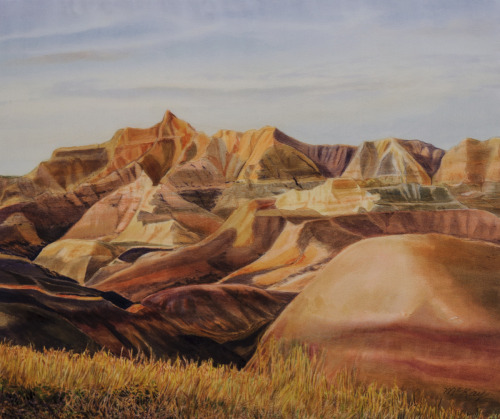Yellow Mounds, Near Canata Basin, Badlands National Park by Nancy McKay