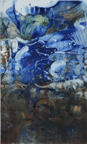 Tide (monotype w added color) by Carol Cruickshanks (large view)