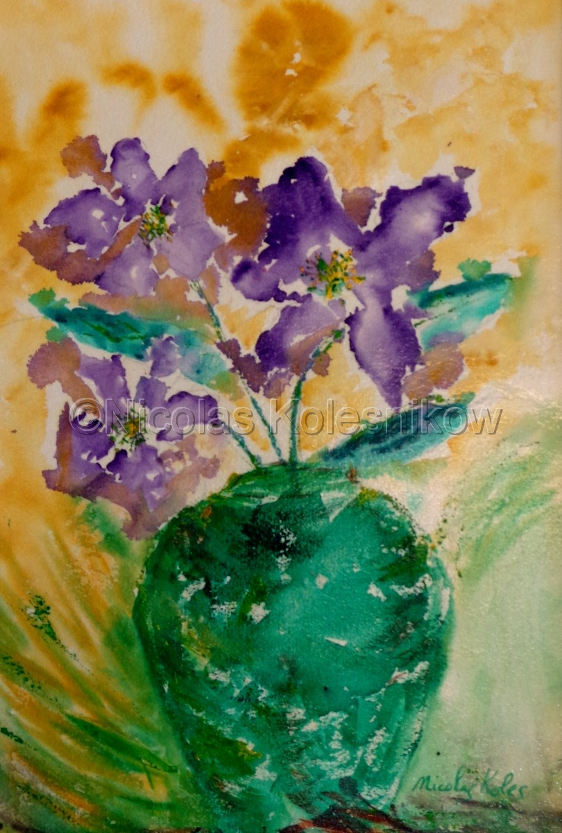 abstract floral arrangement, purple flowers in green vase (large view)