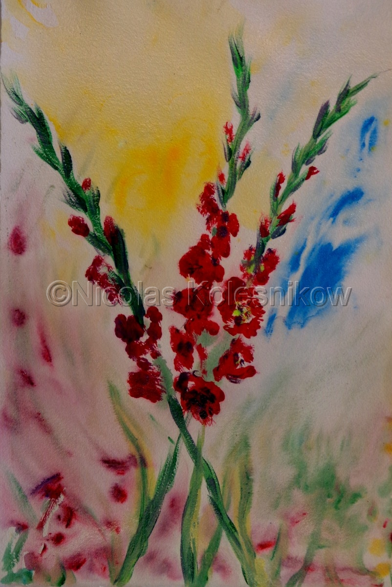 gladiolas with a colorful background (large view)