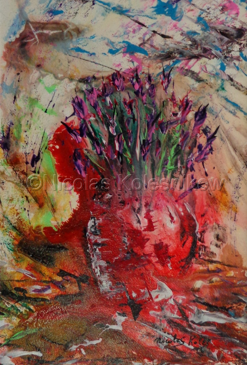 abstract flowers in a red vase with a colorful background. acrylic on cotton watercolor paper. (large view)