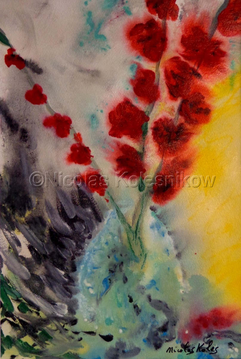 abstract  redgladiolas  in a  vase with a colorful background. acrylic on cotton watercolor paper. (large view)