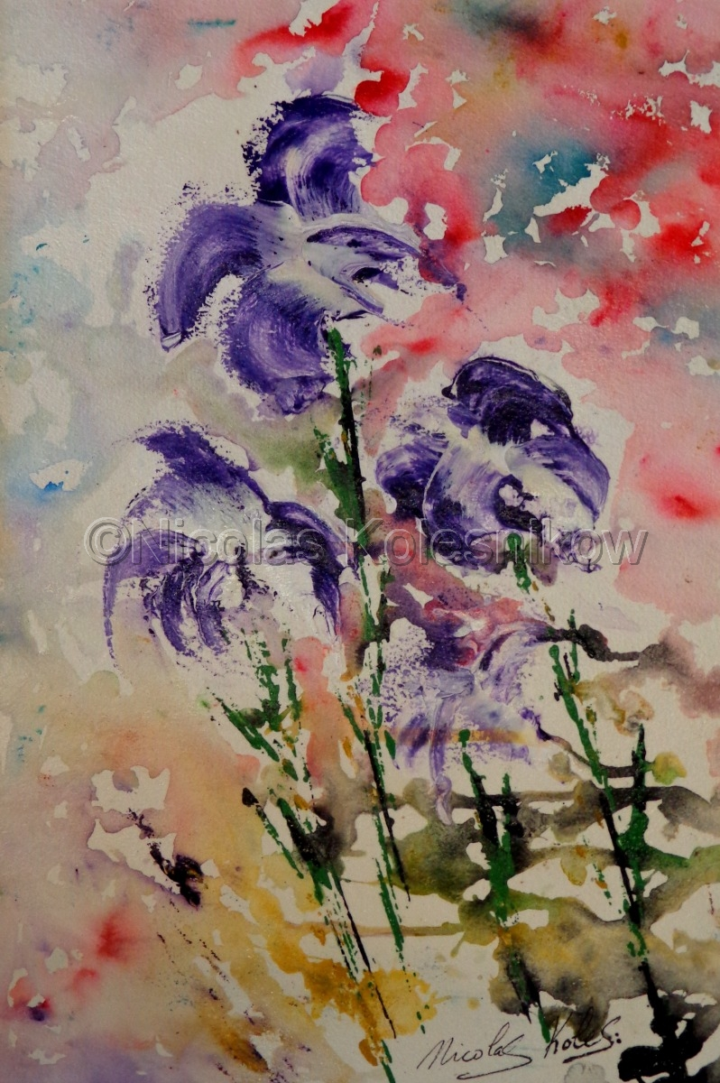 abstract  purple wildflowers. acrylic on cotton watercolor paper. (large view)