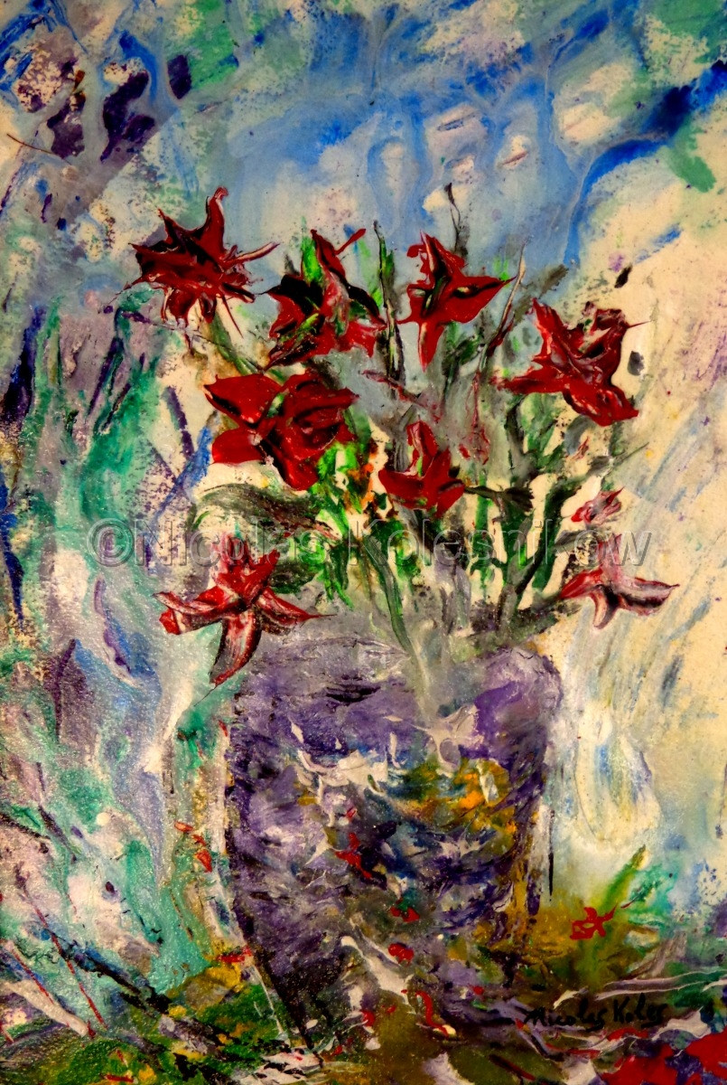 abstract red flowers in a purple vase. acrylic on cotton watercolor paper. (large view)