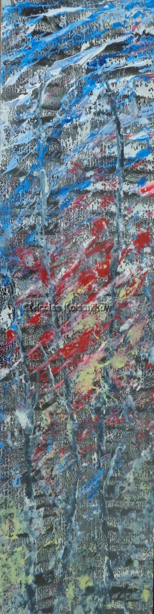 Abstract landscape on long panel, acrylic with gloss finish. Blue, red, black forest (large view)