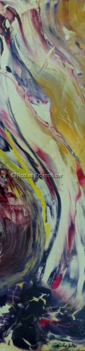 Abstract landscape on long panel, acrylic with gloss finish. swirling colors (large view)