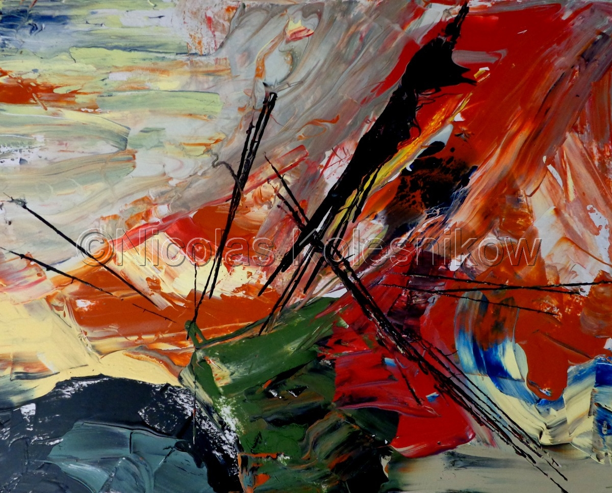 Abstract, acrylic, colors, forms, lines, on hardboard (large view)