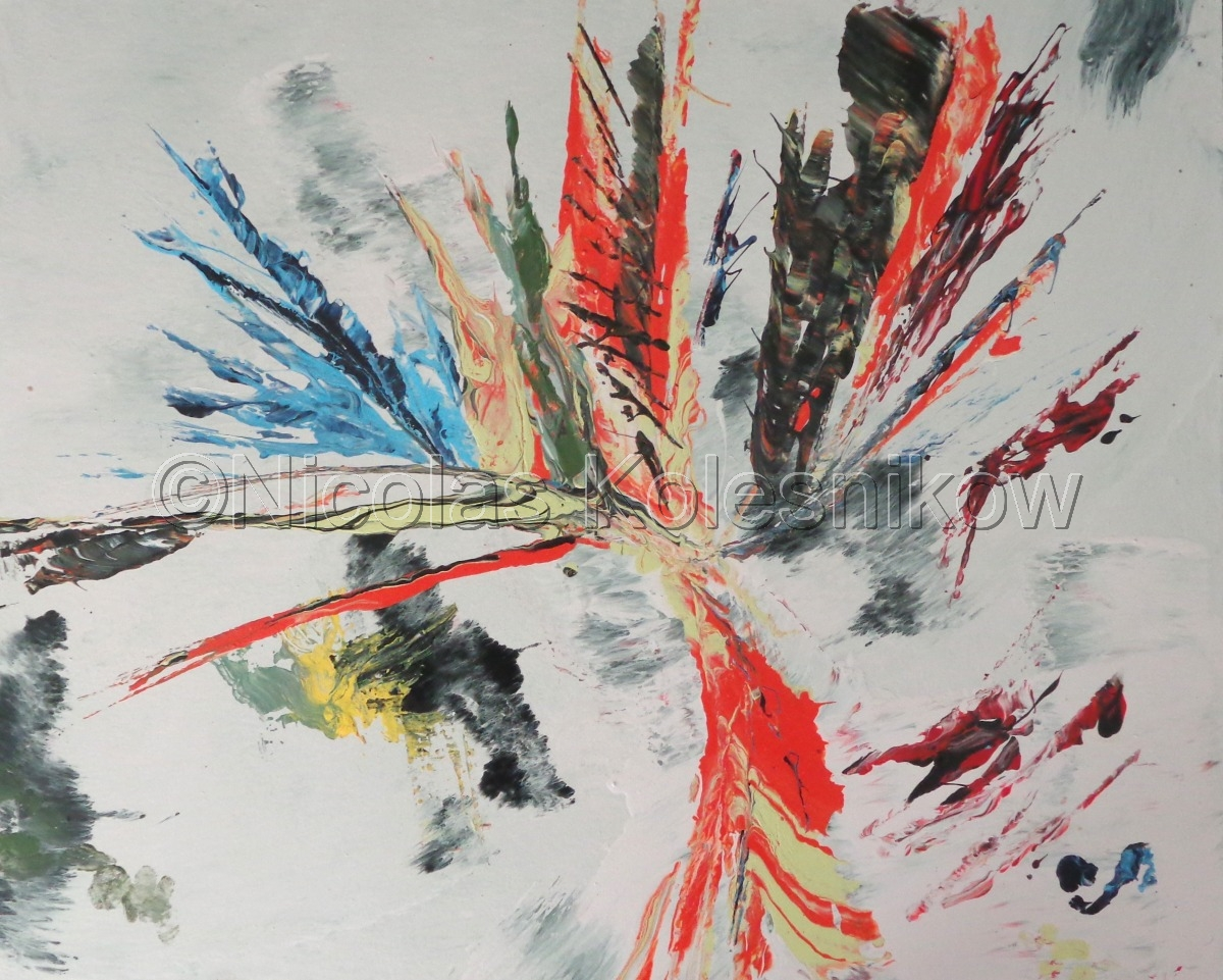 Abstract mixed media painting in circular arrangement of colors (large view)