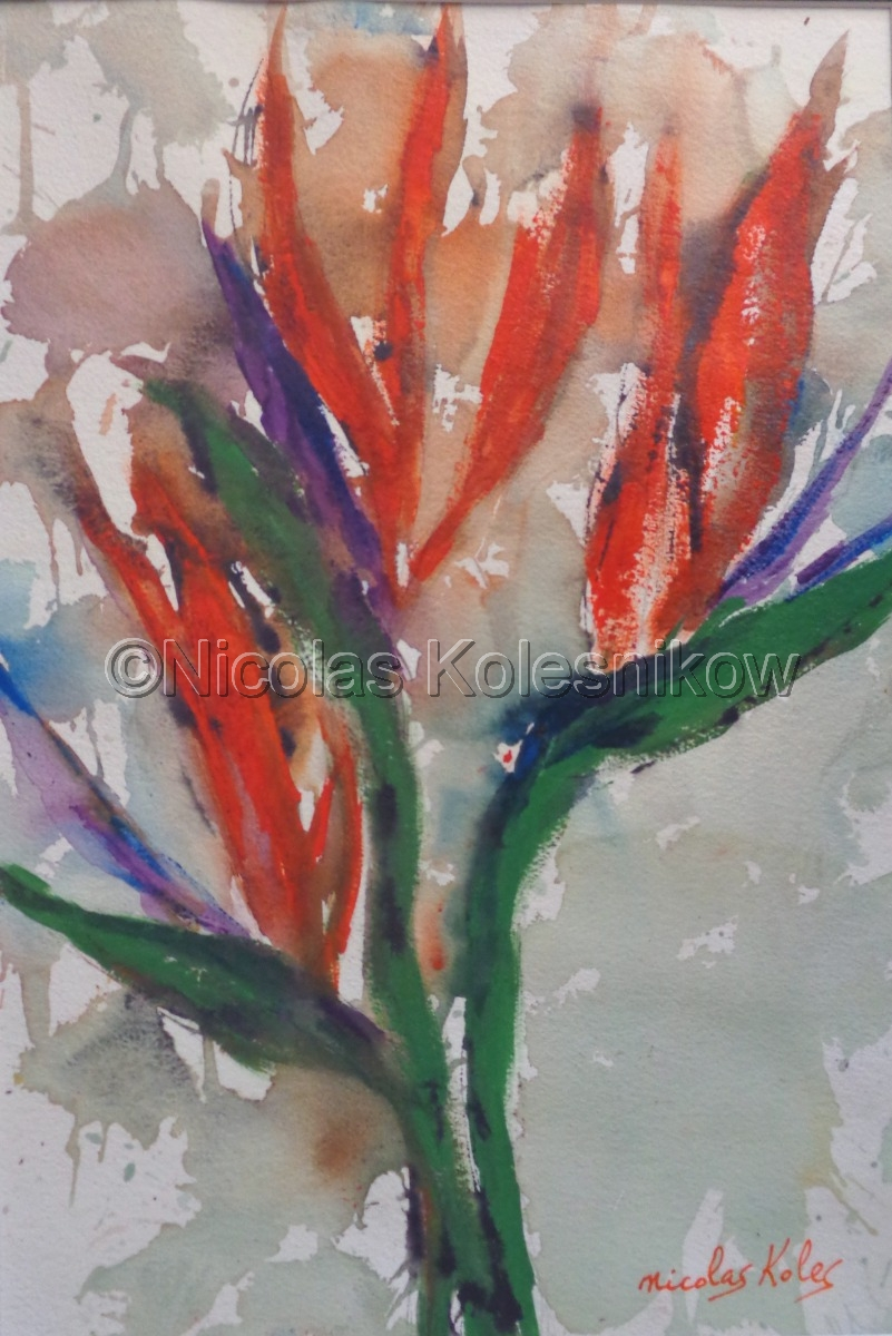 Bird of Paradise, painterly style, mixed media on water color paper, gloss varnish finish. Matted size 24h x 18w (large view)