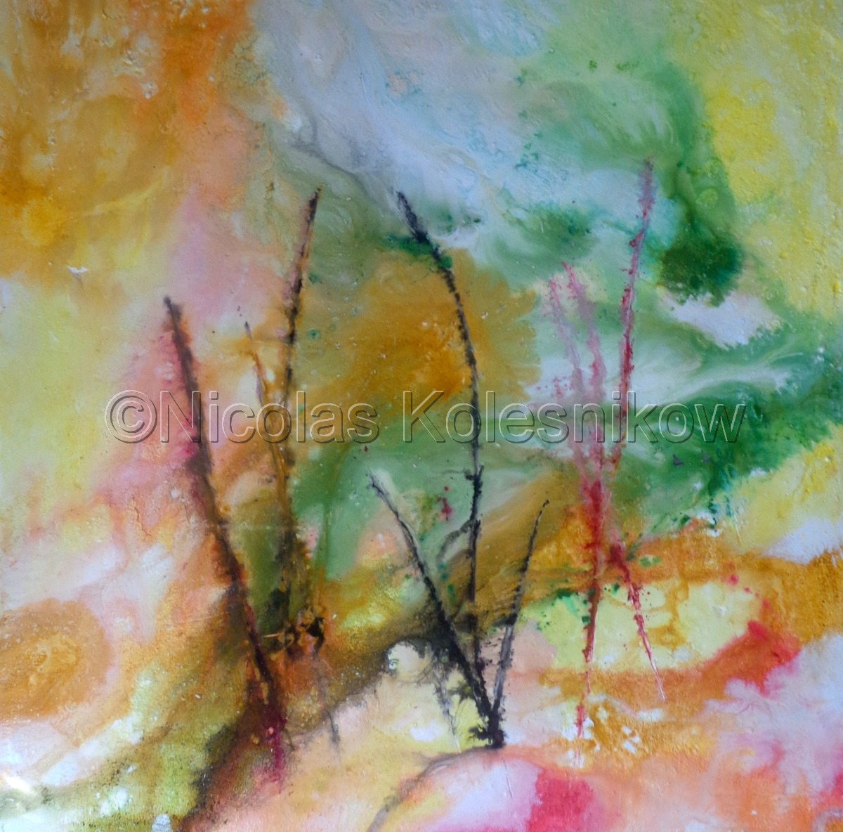 Abstract painting. Pigments and plaster. Soft pastel effect. (large view)