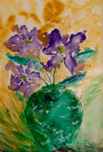 ABSTRACT PURPLE FLOWERS IN GREEN VASE
