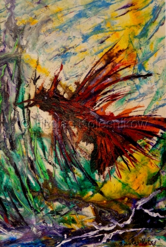 ABSTRACT BIRD AND LANDSCAPE