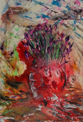 ABSTRACT FLOWERS IN RED VASE