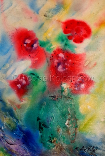 ABSTRACT RED PAINTERLY STYLE FLOWERS