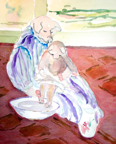 The Bath (homage to Mary Cassatt) by nina evans