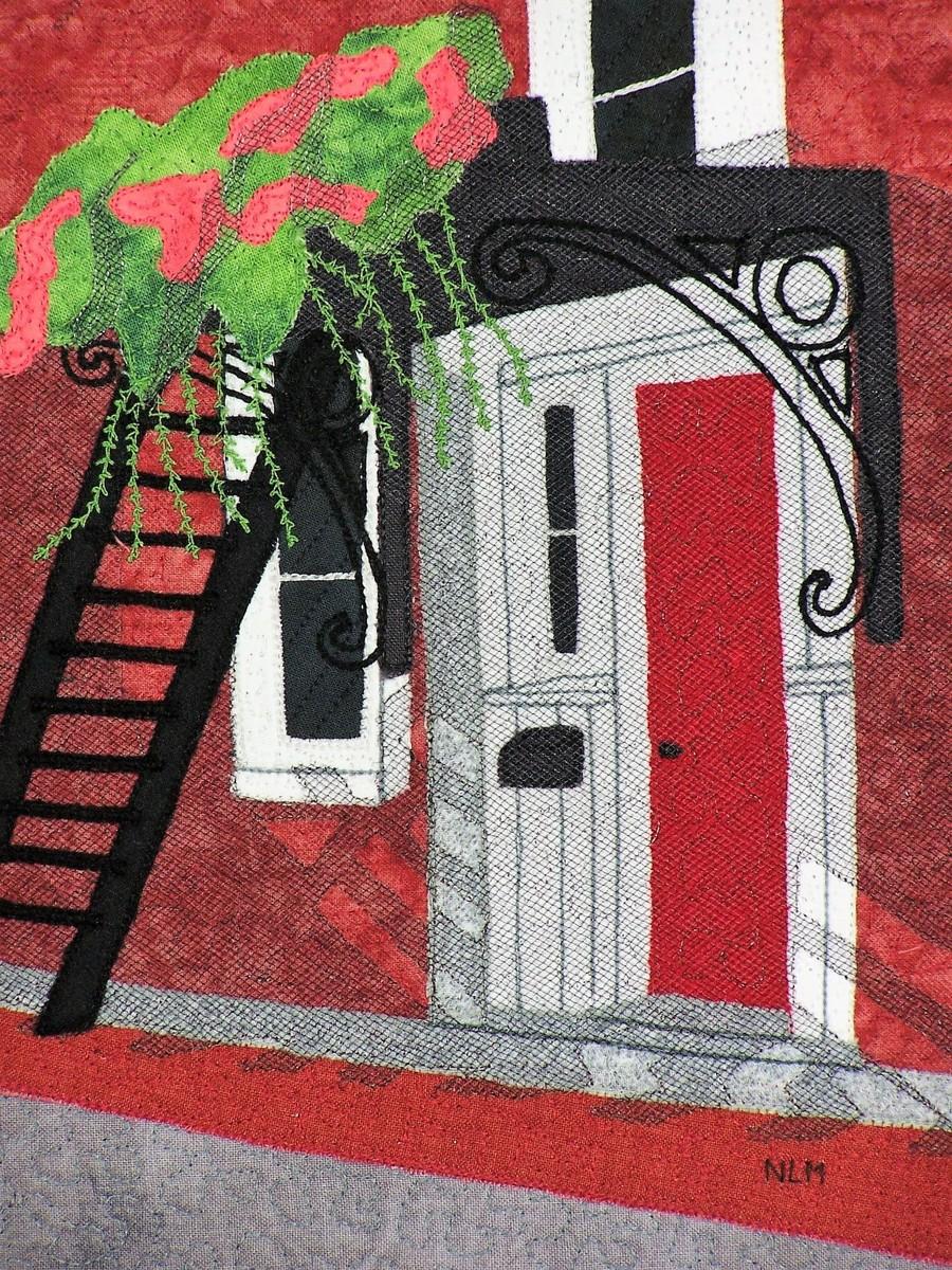 Fiber Art Red Door On Ceres Original Art By Nancy Morgan Art