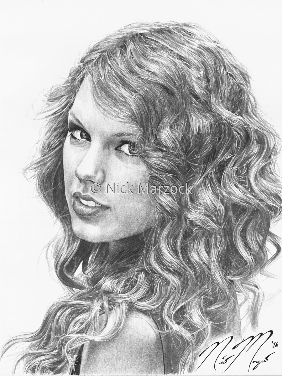 Portrait pencil drawings limited edition print of taylor swift by