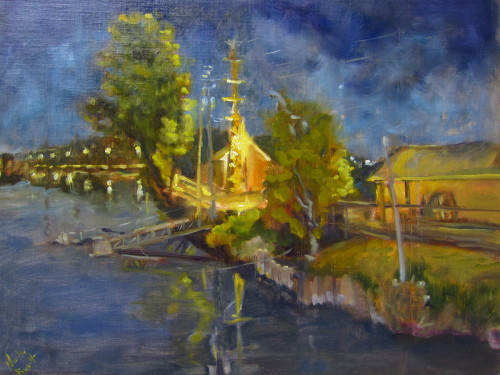 Canalside Nocturne by Noelle Brault Fine Art
