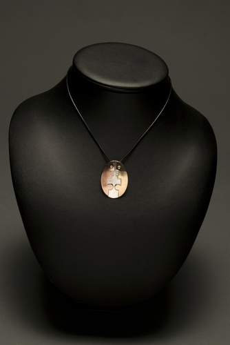 Sterling Silver, Copper and Brass Oval Pendant by Pelted Head Studio