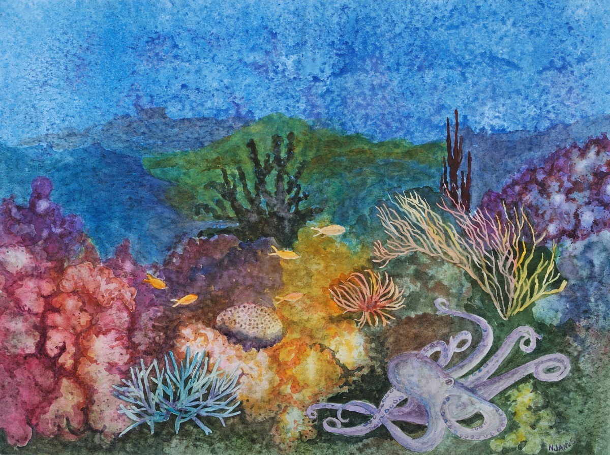 "Painting : ""Giant octopus in coral reef setting"" (Original ..."