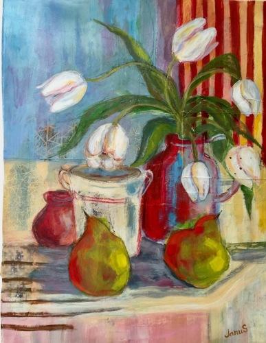 White Tulips Dancing