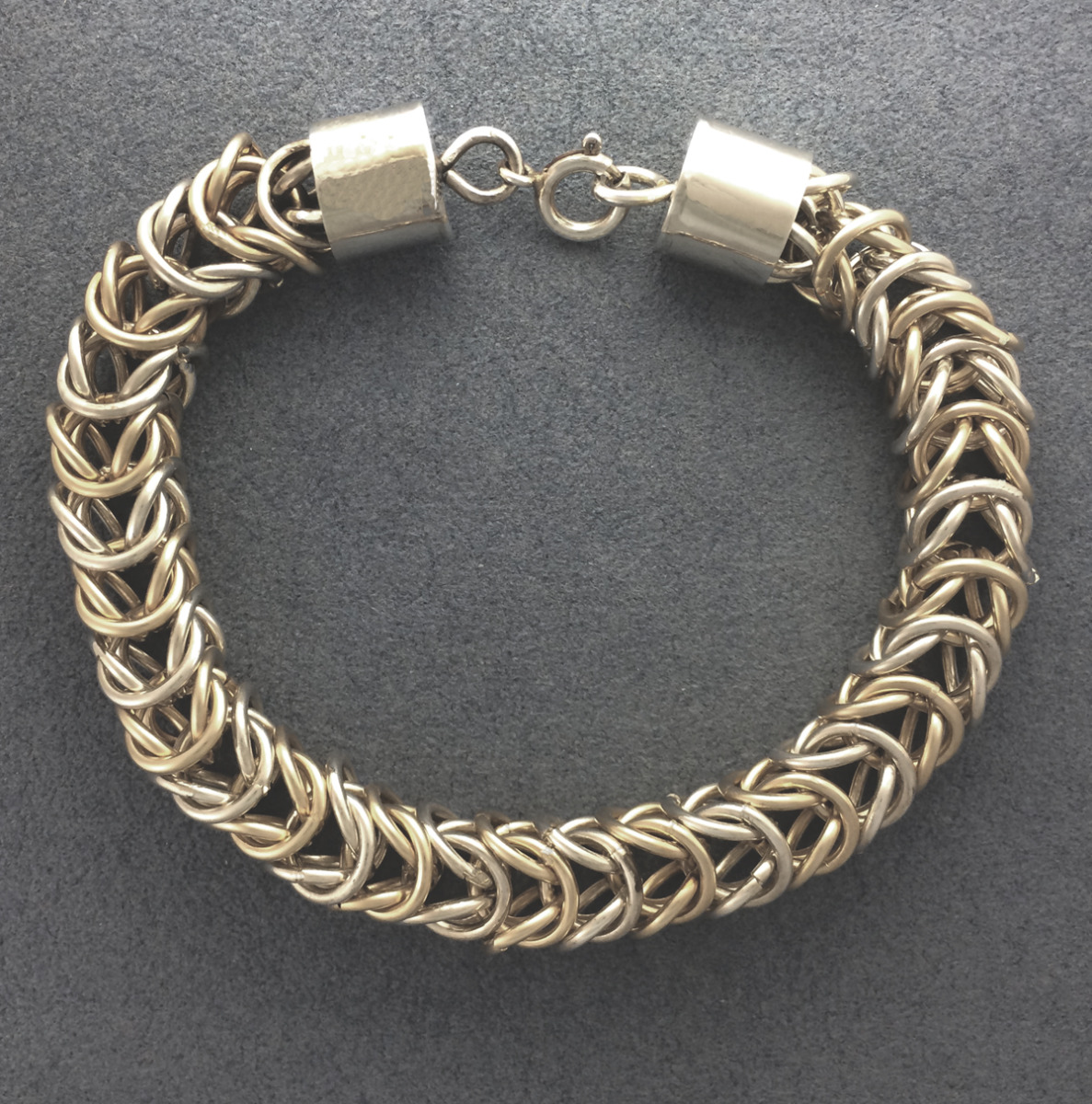 Gold and Silver Chain Maile Bracelet (large view)