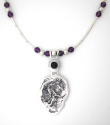 reticulated sterling silver pendant with amethyst cab and beads (thumbnail)