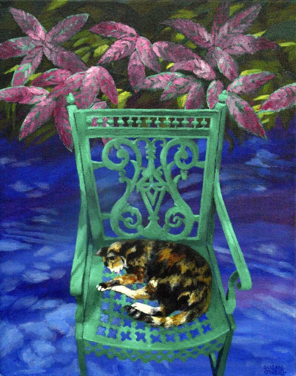 Hemingway Cat On A Green Chair (large view)