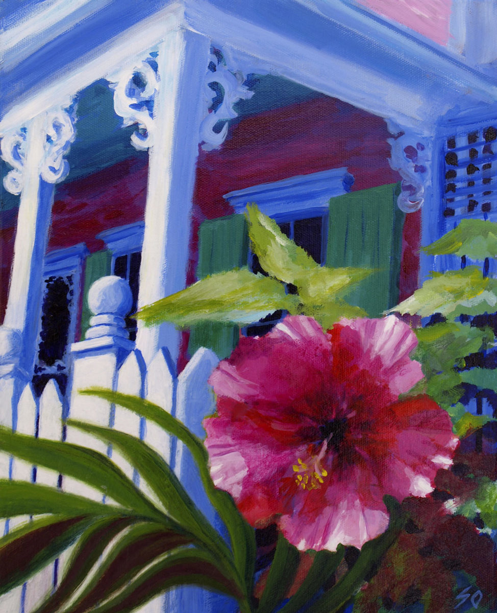 pink hibiscus by the front porch (large view)
