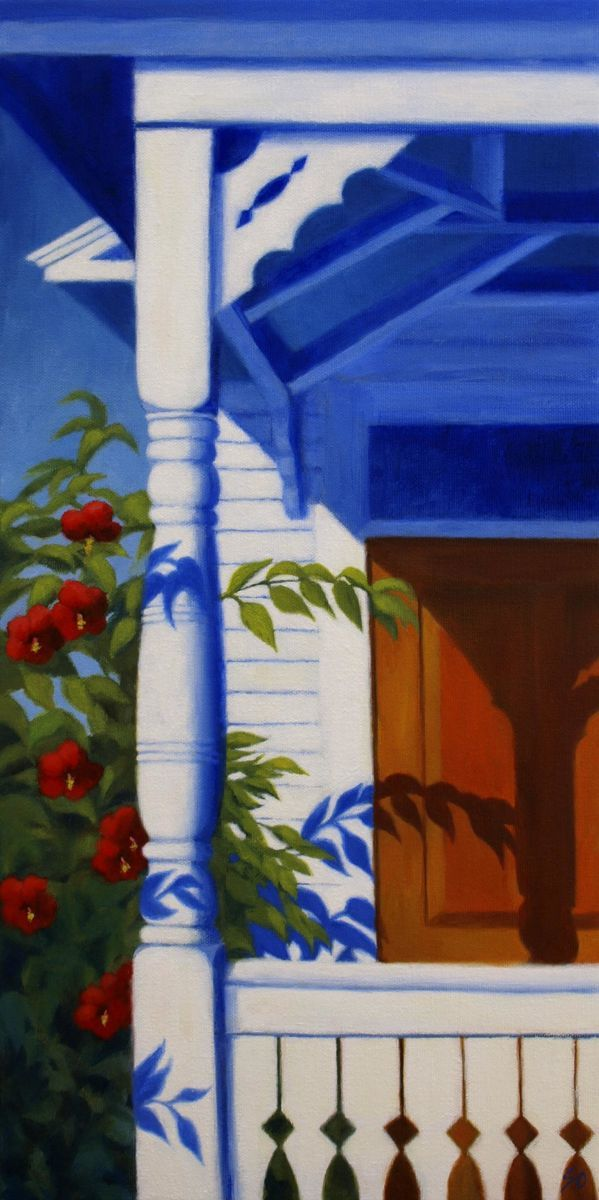 hibiscus and a front porch (large view)