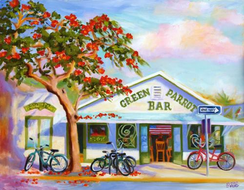 Green Parrot Bar by Susan O'Neill Paintings