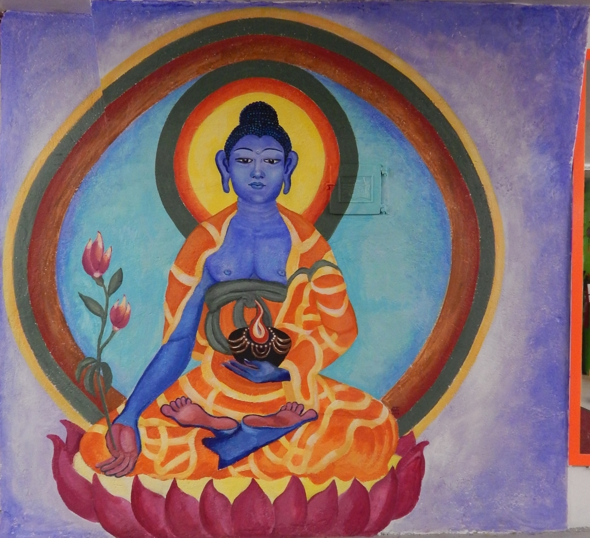 Painting finished medicine buddha mural original art for Buddha mural art