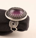 louis waitt,ring,amethyst,cabochon,silver,sterling - Rings Jewelry