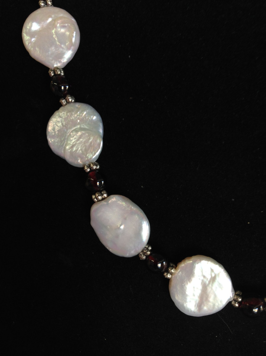 Detail of Cultured Coin Pearl Necklace (large view)