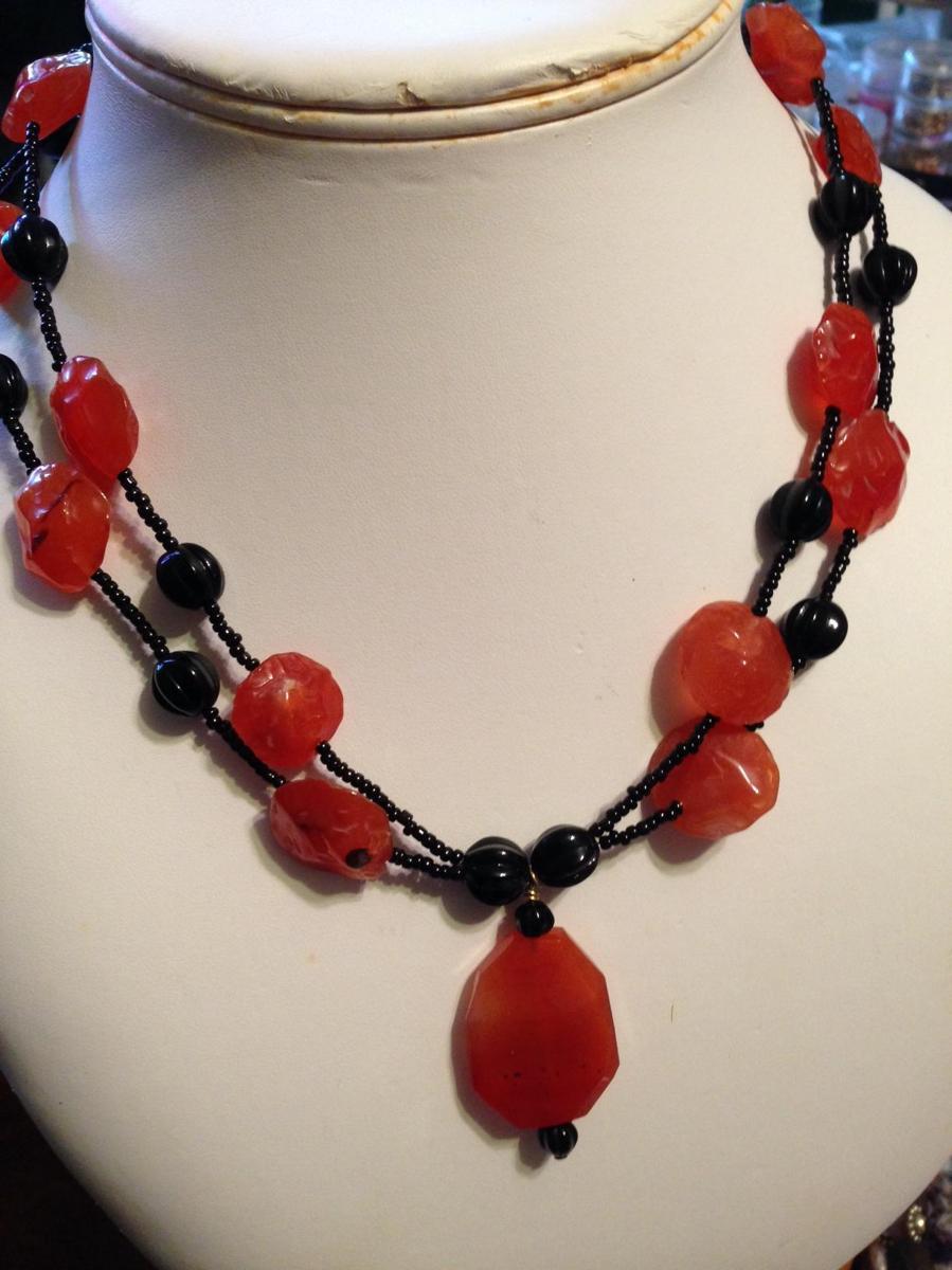 Carnelian & Black Melon Beads (large view)