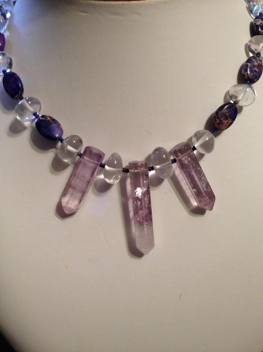Amythest points, quartz & charoit beads (large view)