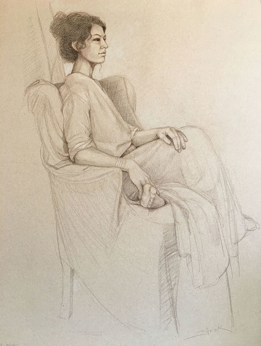 Figure Drawing, Seated, Draped Female (large view)