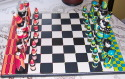 Handmade custom painted bright colored Chess Set with board (thumbnail)