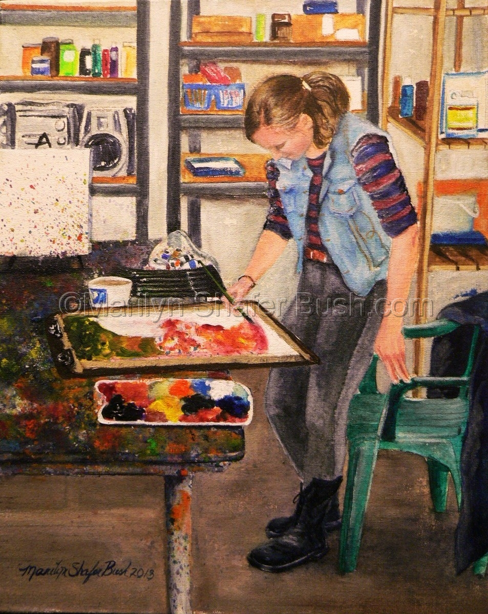 Art student painting a piece. (large view)