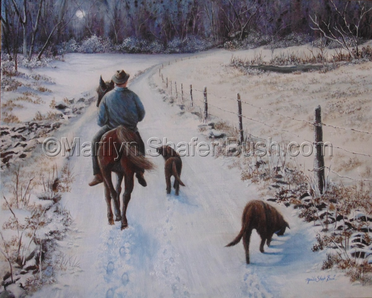 Farmer riding his horse home with his dogs walking alongside in the snow at night. (large view)