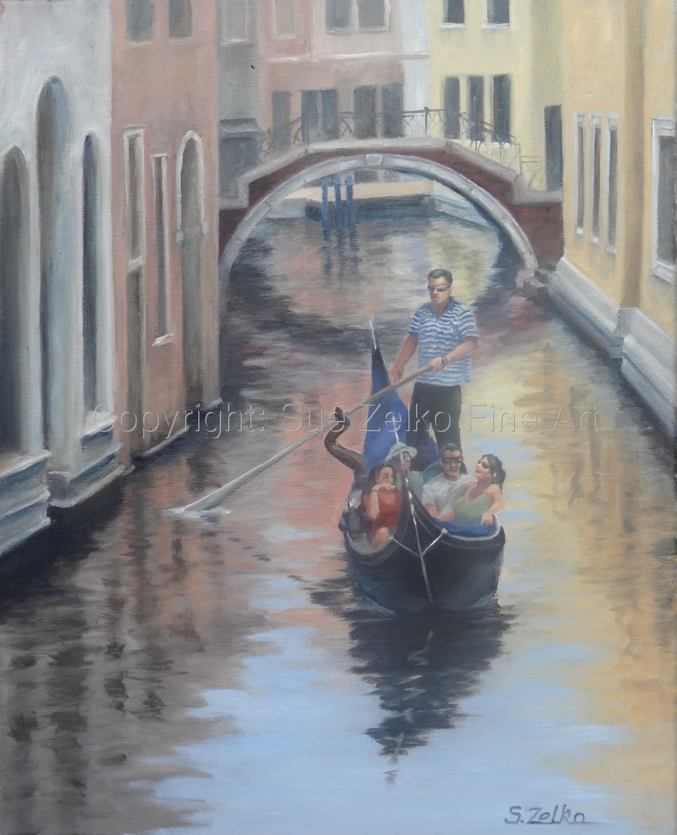 Painting of a gondolier steering a gondola full of people in a narrow Venice canal (large view)