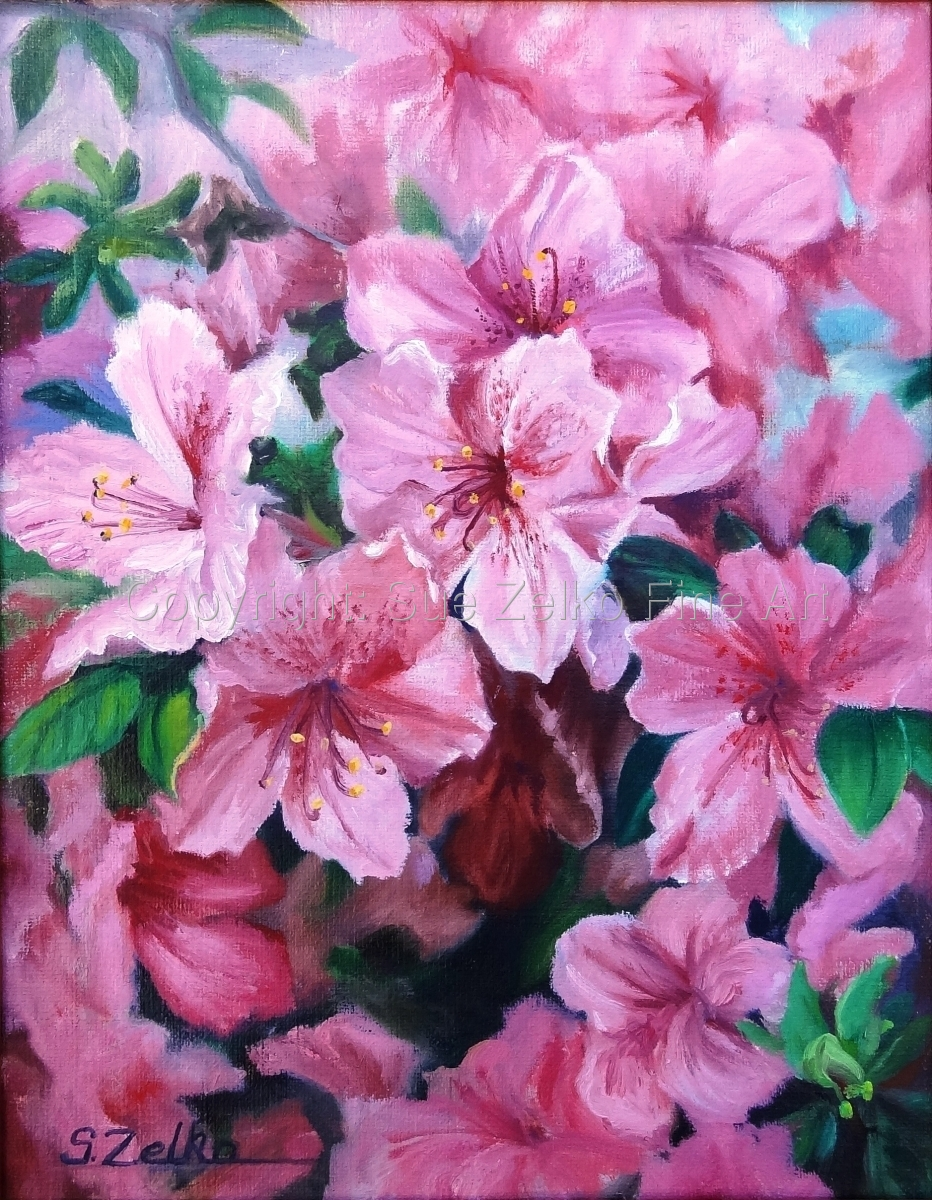 Painting of a close-up of a pink Azalea bush blooming in spring in Texas (large view)