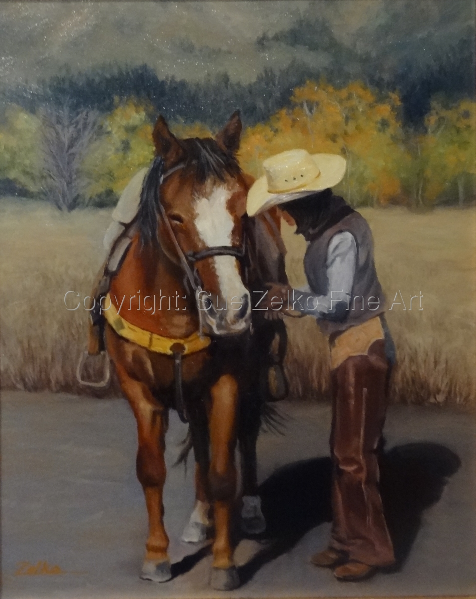 Oil Painting of a horse with the rider adjusting the tack prior to joining the autumn trail ride in Wyoming (large view)