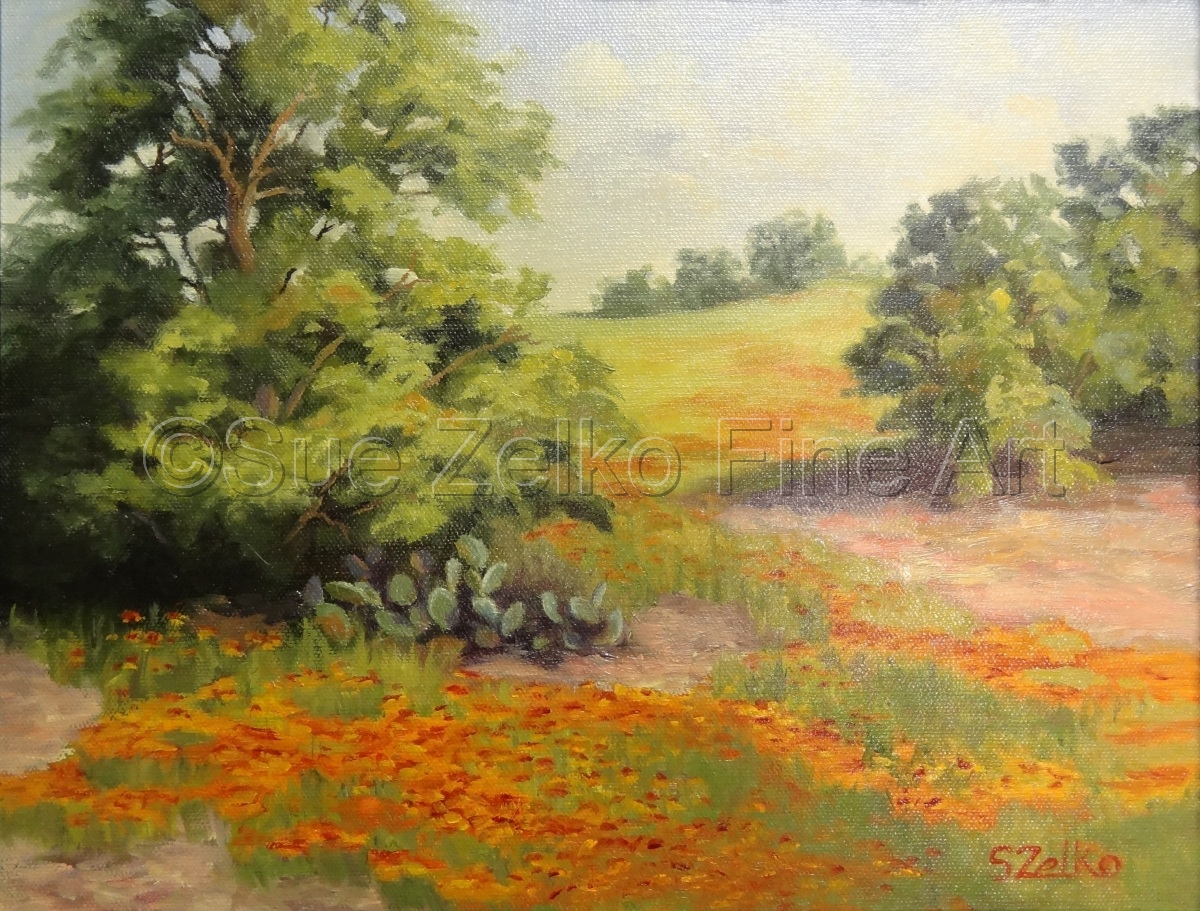 oil painting a distant field, visible between trees, with orange Indian Blanket wildflowers  (large view)