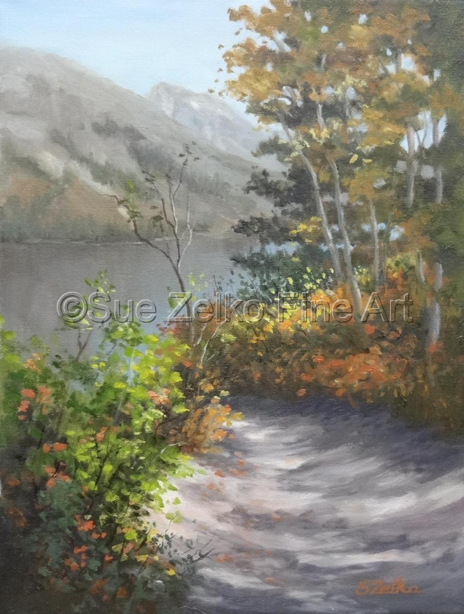 Landscape painting of a path approaching String Lake in Wyoming (large view)