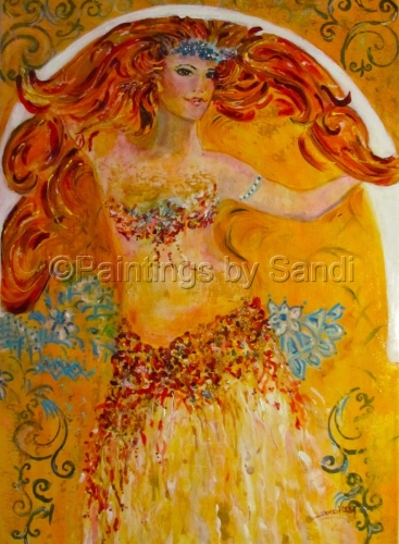 Belly Dancer in style of Mucha