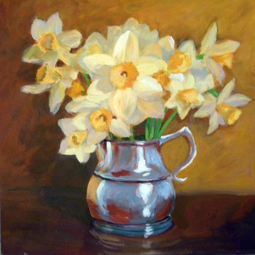 Daffodils in Pewter Pitcher