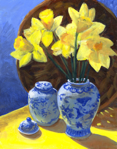 Daffodils In Blue and White