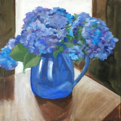 Hydrangeas in Blue Jug